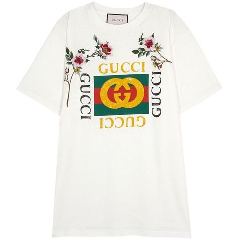 Gucci Off White Embroidered Cotton T Shirt Size M 635