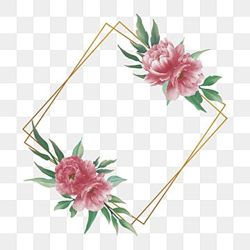 Golden Frame With Watercolor Peony Flower Decoration Background Pattern Flower Png And Vector With Transparent Background For Free Download Flower Frame Png Flower Invitation Card Flower Frame