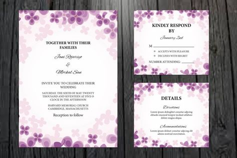 Floral Wedding Invitation Template, (934326) | Card and Invites | Design Bundles