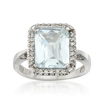 4.20 Carat Aquamarine and .15 ct. t.w. Diamond Ring in 14kt White Gold
