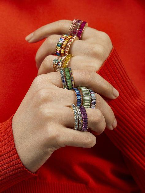 Splurge-worthy BaubleBar rings donned by ROY G  BIV himself