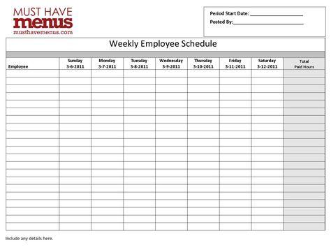 Weekly Employee Schedule Form  Musthavemenus  Work Stuff
