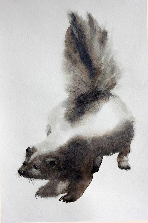 Skunk Watercolor Nursery watercolor painting animal | Etsy