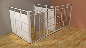 Amazon Com Modern Glass Wall Office Cubicle With Doors Demountable Walls Room Dividers Cubicle Panels Mo Sliding Room Dividers Kids Room Divider Room Divider