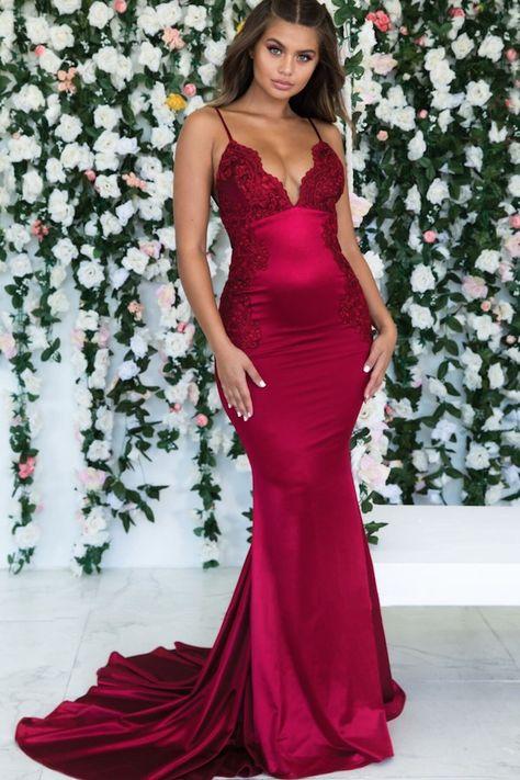 Mermaid Lace V-Neck Long Prom Dress Formal Evening Dresses #promdress #backlesspromdress #longformaldress