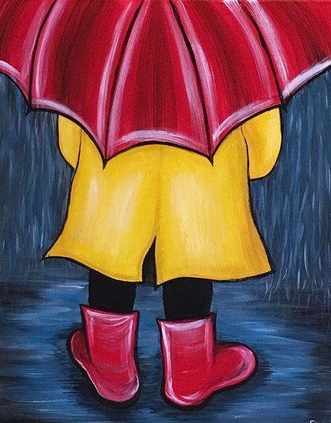 Rainy Day Canvas Painting Diy Simple Acrylic Paintings Oil Pastel Art