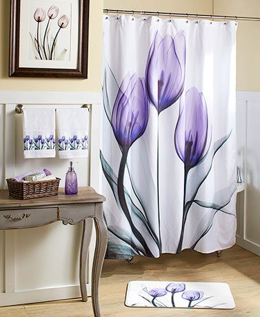 Tulip Bathroom Coordinates Purple Shower Curtain Grey Bathrooms