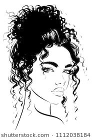 Attractive Woman With Curly Hair Curly Hair Cartoon Curly Hair