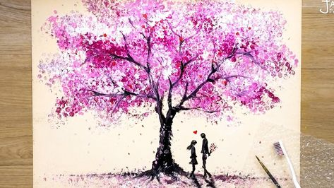 How to draw Romantic Couple beside a Cherry Tree / Bubble Wrap Painting Techniques - YouTube
