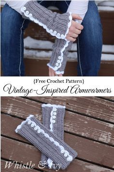 ** NO VIDEO** Free Crochet Pattern - Vintage Inspired Arm warmers. These comfy arm warmsers are cute and feminine, and have a cute button detail. {Pattern by Whistle and Ivy} Crochet Wrist Warmers, Crochet Boot Cuffs, Crochet Boots, Crochet Gloves, Crochet Scarves, Crochet Fingerless Gloves Free Pattern, Hand Warmers, Crochet Vintage, Cute Crochet