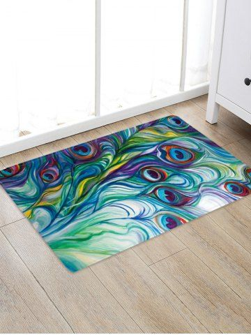 Peacock Feather Pattern Water Absorption Area Rug In 2020 Rustic
