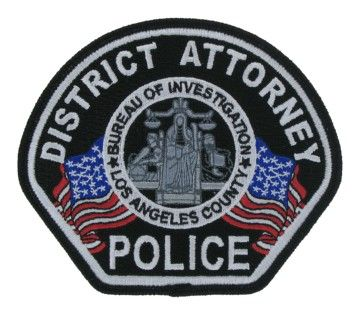 Us State Of California Los Angeles County District Attorney Police Agency Patch Police Police Badge Los Angeles County