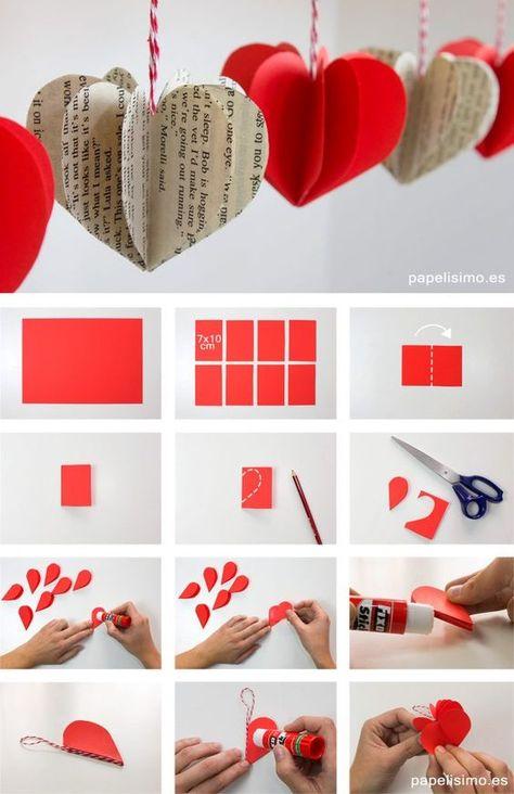 Faça você Mesmo Lindas Decorações com Corações de papel. #artesanato #papel #coração #corações #passoapasso #comofazer #aprender #origami #dobradura #feitoamao