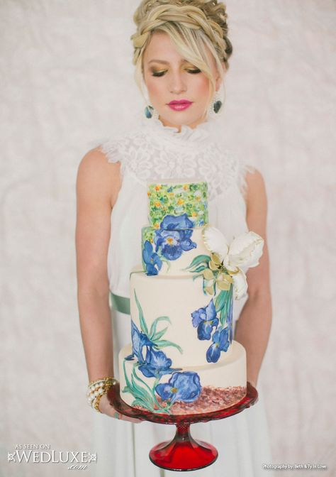 WedLuxe: From tulips to the paintings of Van Gogh, Holland-inspired #wedding ideas #painted #cake