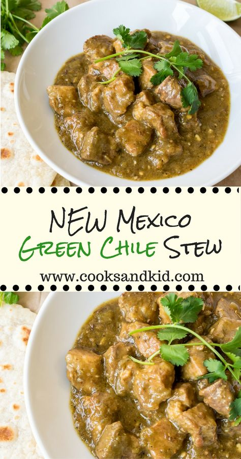 New Mexico Green Chile Stew It's Hatch Chile Season! New Mexico Green Chile Stew. Pork shoulder simmered in Hatch green chiles, cumin and Mexican oregano until fork tender. Authentic Mexican Recipes, Mexican Food Recipes, Green Chile Stew, Green Chili Pork Stew, Chile Verde Pork, Best Green Chili Stew Recipe, Carne Con Chile Verde Recipe, Hatch Chile Relleno Recipe, Pork Green Chilis