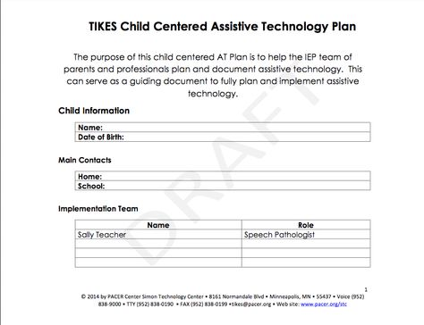 Blank Child Centered AT plan to help teams consider assistive - technology plan template