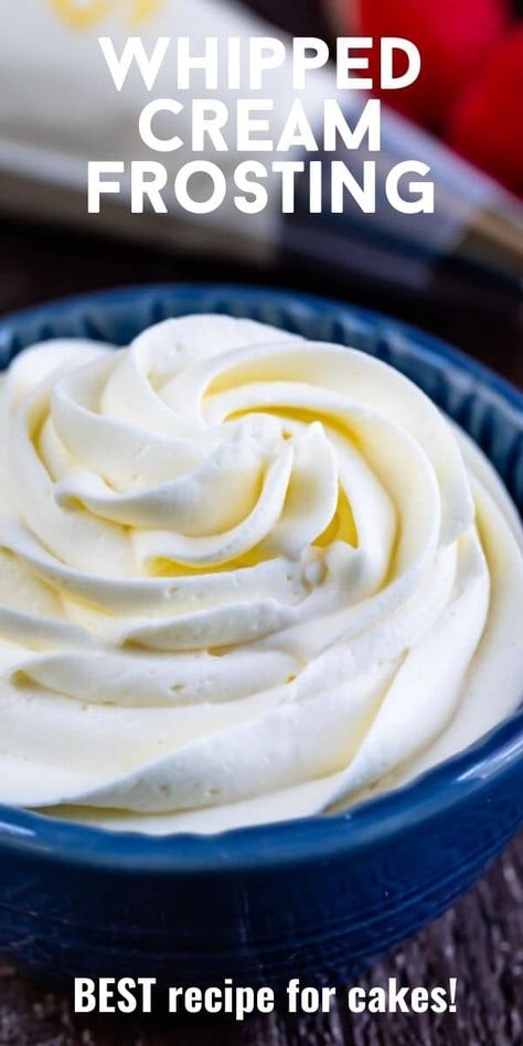 Stable Whipped Cream Frosting, Making Whipped Cream, Homemade Whipped Cream, Easy Whipped Frosting Recipe, Wipped Cream Frosting, Homemade Frosting Recipes, Recipes With Whipping Cream, Cream Recipes, Oreo Cupcakes