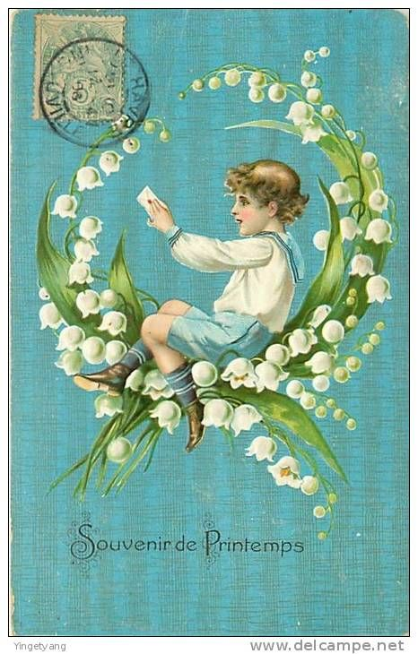 Antique French card - Lily of the valley