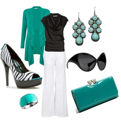 I think teal/turquoise are my new favs with black....I've seen those shoes before:) hehe.