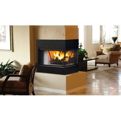 Ihp Superior 36 In Peninsula Radiant Wood Fireplace With Bi Fold Doors Home Fireplace Wood Fireplace Wood Burning Fireplace