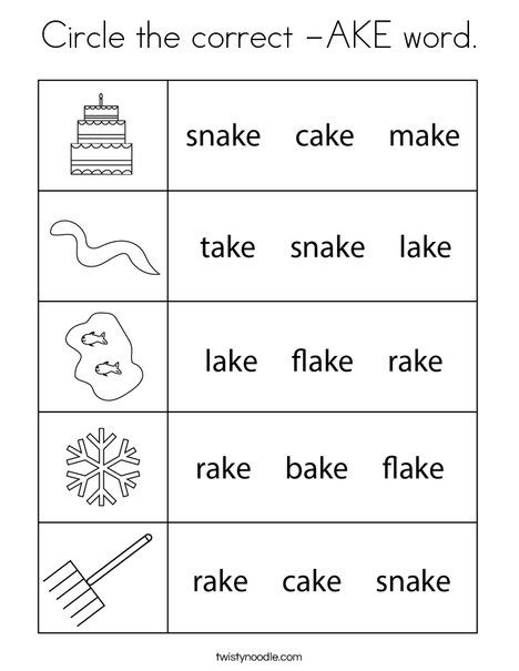 Circle The Correct Ake Word Coloring Page Twisty Noodle In 2020 Phonics Words Coloring Pages Cool Coloring Pages
