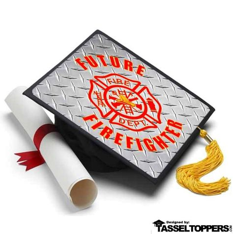 Info A firefighter (also known as a fireman or firewoman) is a modern day hero to us all. The unsung heroes that put their lives at risk each and every day. We salute you and now your one step closer to being a Firefighter. Wear this Topper with pride. About A Tassel Topper is the ultimate form of self expression and is the professional way to decorate your graduation cap. We print your design on a durable sheet of plastic that fits directly on top of your graduation cap with the help of our adh