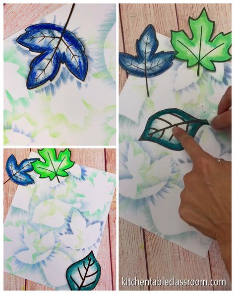 Use free leaf templates and chalk pastel to create this easy leaf art for kids! #leafart #fallcrafts #fallart