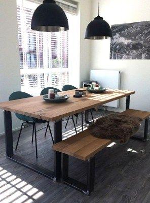Tavolo Industrial Design legno massello di recupero ...