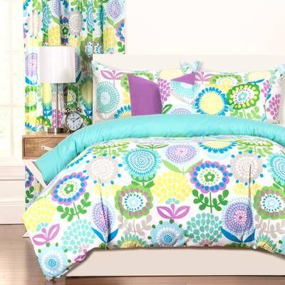 Crayola Pointillist Pansy Reversible Comforter Set Duvet Cover Sets Duvet Sets Comforter Sets