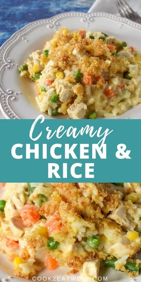 This creamy chicken and rice casserole is the perfect comfort food. Chicken, rice and vegetables are combined with a creamy sauce, topped with buttery, crunchy breadcrumbs and baked until golden and bubbly. Chicken And Vegetable Casserole, Creamy Chicken And Rice, Chicken And Vegetables, Chicken And Rice Cassarole, Buttery Baked Chicken, Chicken Rice Bake, Baked Fried Chicken, Chicken And Rice Dishes, Creamy Chicken Casserole