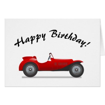 Birthday Card Red Vintage Car Greeting Card Birthday Cards Invitations Party Diy Personalize Custom Birthday Greeting Cards Birthday Cards Diy Birthday Gifts