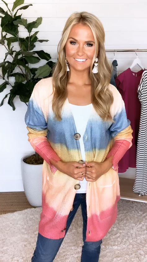 Don't Let Go Of Love Rainbow Ombre Cardigan