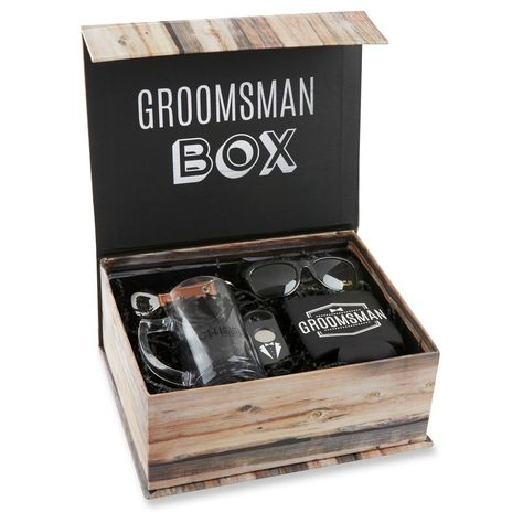 The Kate Aspen Groomsman Kit has everything the team needs for an awesome event or outing. This fun and functional kit includes a beer mug, cigar cutter, sunglasses, bottle opener keychain, and an insulated drink sleeve in a decorative gift box. Groomsmen Gift Box, Be My Groomsman, Groomsmen Proposal, Bridesmaids And Groomsmen, Bridesmaid Proposal, Groomsman Gifts, Bridesmaid Gifts, Groomsmen Gifts Unique, Groomsmen Invitation