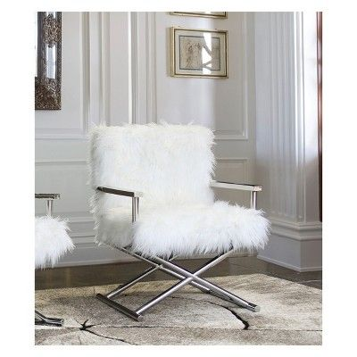 Armen Living Calgary Contemporary Accent Chair White With Images