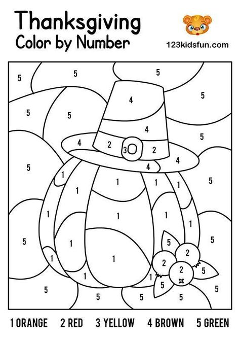FREE thanksgiving Color by Number Coloring Pages for Kids Printable. Kids learning color and numbers. Best activities for Toddlers and preschoolers. Free Thanksgiving Printables, Thanksgiving Activities For Kids, Fall Preschool, Fall Crafts For Kids, Thanksgiving Crafts, Thanksgiving Decorations, Thanksgiving Math Worksheets, Printable Math Worksheets, Preschool Alphabet