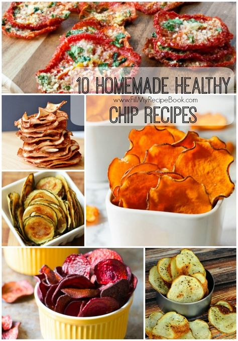 10 Homemade Healthy Chip Recipes - Fill My Recipe Book 10 homemade healthy chip recipes, wow go crazy bake or dry and season them with what you wish. Herbs are good. Baked Carrot Chips, Cinnamon Apple Chips, Zucchini Chips, Baked Veggie Chips, Vegetarian Snacks, Healthy Snacks, Homemade Chips, Snacks Homemade, Homemade Recipe