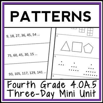4th Grade Patterns 3 Day Mini Unit Number Patterns Shape