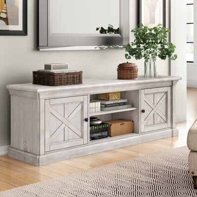 Three Posts Leandra TV Stand for TVs up to 78 inches Living Room Tv, Home And Living, Living Room Furniture, Dining Room, Furniture Decor, Country Farmhouse Decor, French Country Decorating, Modern Farmhouse, Farmhouse Living Rooms