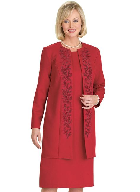 Embroidered Jacket Dress at http://www.AmeriMark.com.  Dress up in this versatile open front jacket dress! Longer-length jacket with full coverage, princess seams and tonal floral embroidery.  #embroidereddress #eveningdress #amerimark #partydress