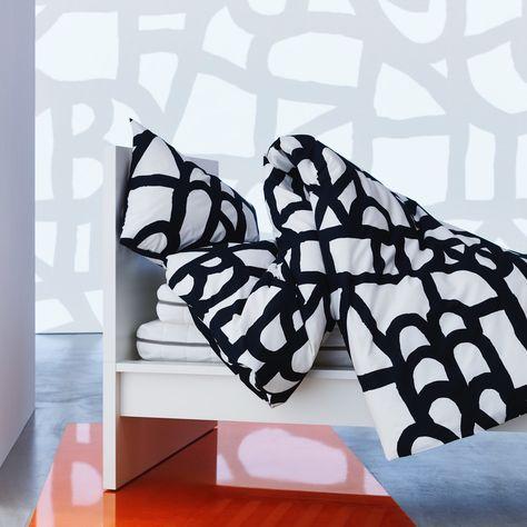 Copripiumino Bianco Nero.Skuggbracka Copripiumino E Federa Bianco Nero 150x200 50x80 Cm