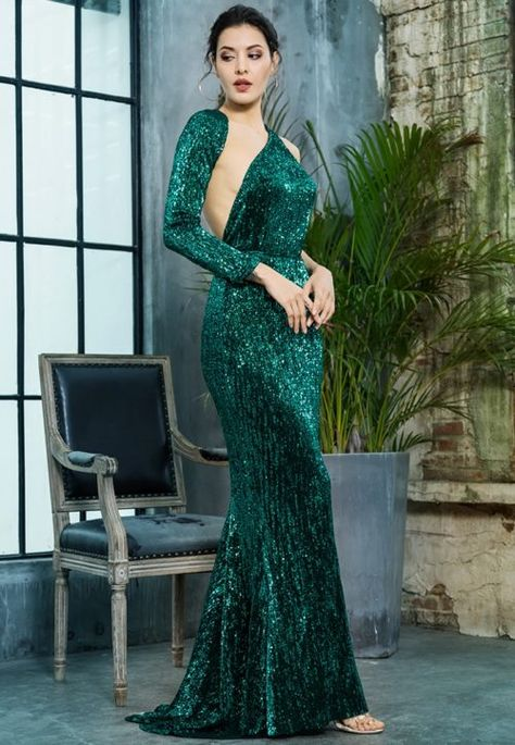 f39f5b2aeef0 One Shoulder Green Evening Gown - Emerald Green Formal Sequin Dress