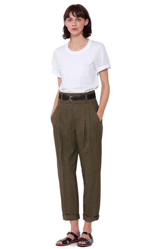 WOMEN SPRING SUMMER 2016 - White cotton melange/linen t-shirt, khaki/black puppytooth wool deep waistband pleat trouser, black cotton/leather roller buckle webbing belt, black patent leather sandal