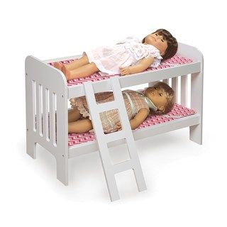 Badger Basket Chevron Wooden Doll Bunk Bed With Ladder With