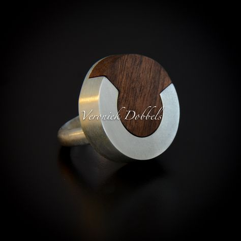 Ring zilver hout