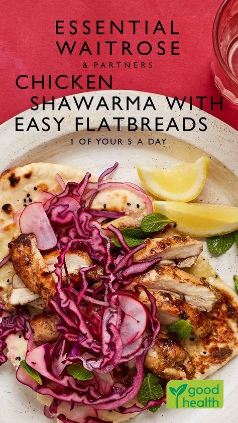 Make the flatbreads while the chicken is marinating, for this middle-eastern inspired meal that all the family will love. It's also 1 of your 5 a day!  Tap for the full Waitrose  Partners recipe.