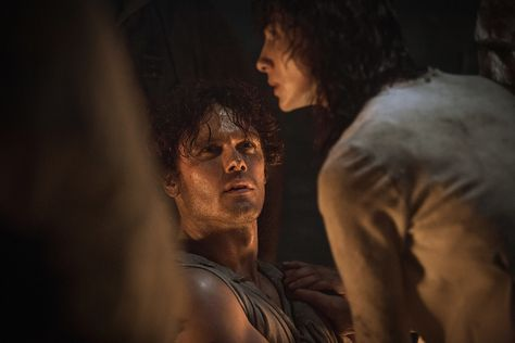 Let's head back to when Jamie and Claire first met. After she deftly bandages his wounded arm, even while not being sure where she exactly is, Jamie is already intrigued by Claire. We're looking forward to more of Jamie's smoldering good looks.
