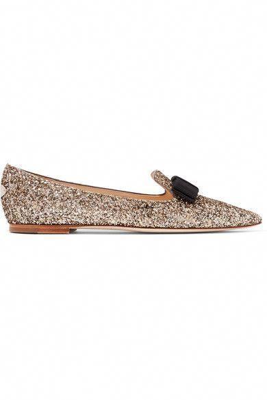7cd0a1e0d559 Jimmy Choo - Gala Glittered Leather Point-toe Flats - Gold  JimmyChoo