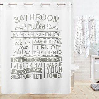 Hookless Bathroom Rule Shower Curtain Liner Kids Bathroom