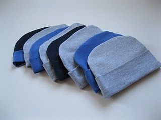 Newborn hat tutorial. Use old t-shirts to make gifts for precious new babies.