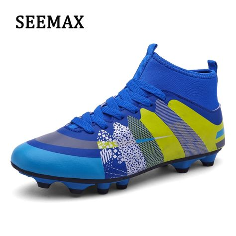 063d744c8 Men s Soccer Shoes With Socks Professional Sports AG Men Long Spikes Shoes  Lawn Trainers Cleats Non-Slip Boys Football Boots Price   30.00   FREE  Shipping ...